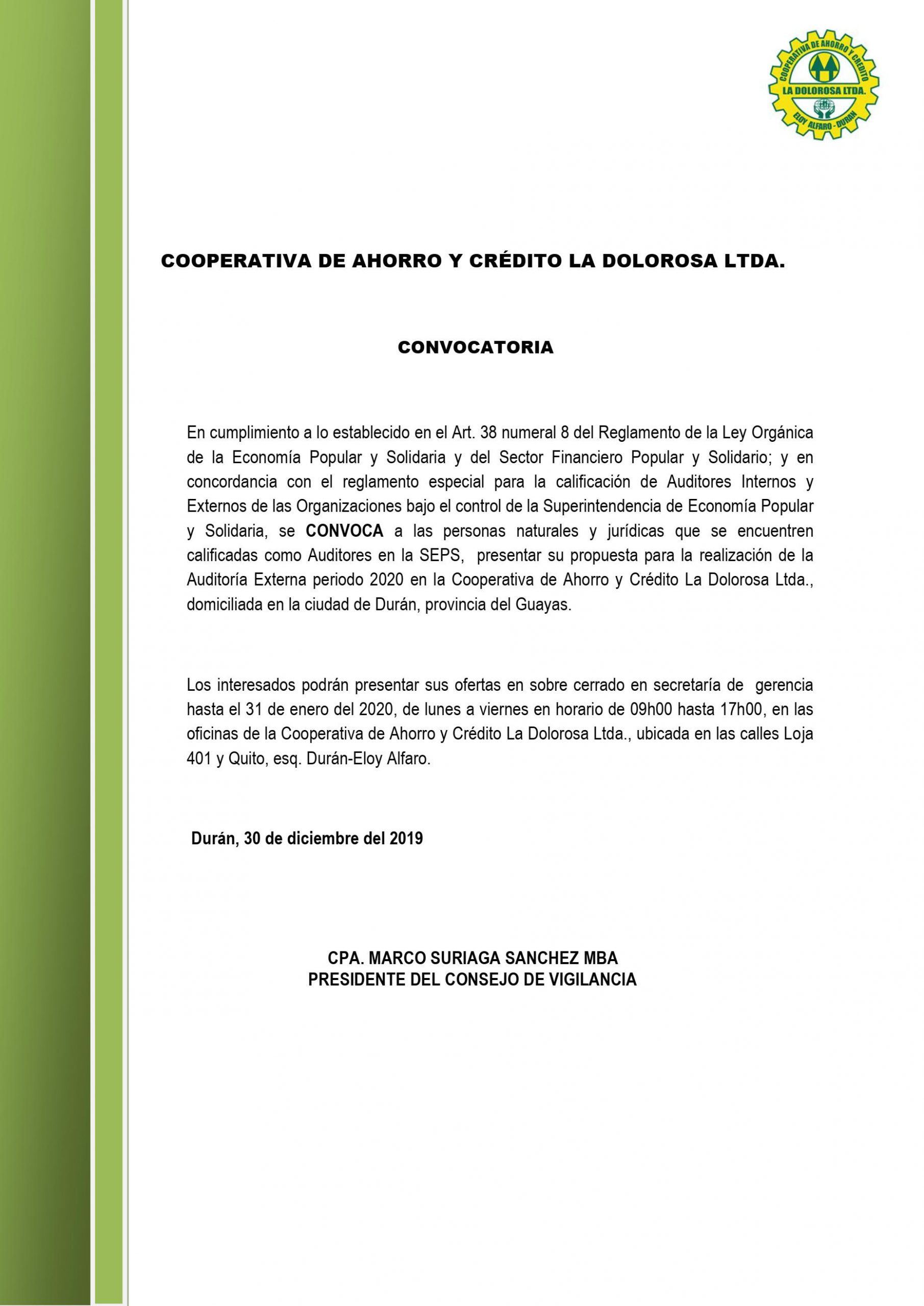 CONVOCATORIA AUDITORES INTERNOS O EXTERNOS 29-12-2019